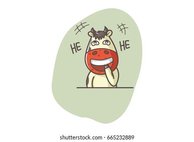 Cute Cow Laughing. Vector illustration. Isolated on white background.