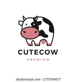 cute cow logo vector icon illustration