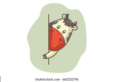 Cute Cow looking from behind the wall. Vector illustration. Isolated on white background.