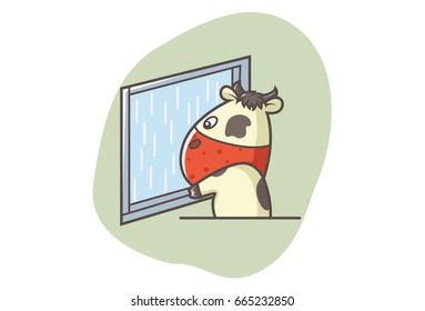Cute Cow Looking outside the window. Vector illustration. Isolated on white background.