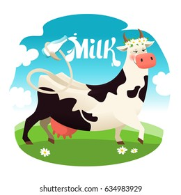 cute cow with milk bottle Vector illustration