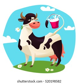 Cute cow with milk bucket Vector illustration