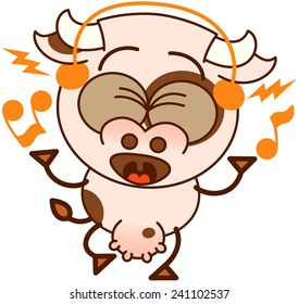 Cute cow in minimalistic style, with bulging eyes, big udder and wearing headphones while dancing and listening to music in an enthusiastic way