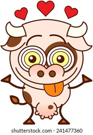 Cute cow in minimalistic style, with bulging eyes and big udder while showing red hearts above its head, smiling and sticking its tongue out to show it is madly in love