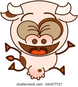 Cute cow in minimalistic style, with bulging eyes and big udder while clenching its eyes and jumping enthusiastically as for celebrating something special