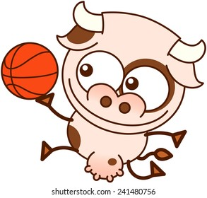 Cute cow in minimalistic style, with bulging eyes and big udder while smiling, jumping and playing basketball