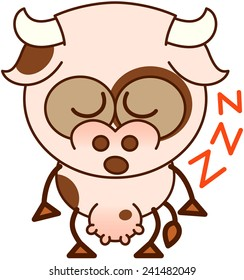 Cute cow in minimalistic style, with bulging eyes and big udder while closing its eyes while sleeping standing up