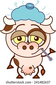 Cute cow in minimalistic style, with bulging eyes and big udder while feeling sick and standing up with a thermometer in its mouth and an ice pack above its head
