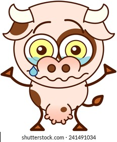 Cute cow in minimalistic style, with bulging eyes and big udder while crying tenderly and raising its arms as for claiming for help