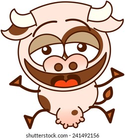 Cute cow in minimalistic style, with bulging eyes and big udder while jumping and laughing enthusiastically