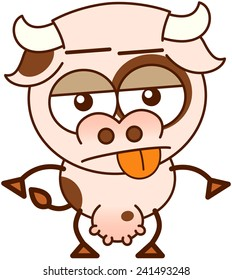 Cute cow in minimalistic style, with bulging eyes and big udder while showing an apathetic mood by sticking its tongue out and expressing rejection