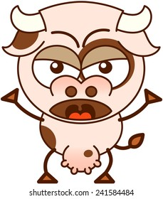 Cute cow in minimalistic style with bulging eyes and big udder while raising its arms and frowning in an angry mood