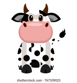 Cute cow on a white background, Vector illustration