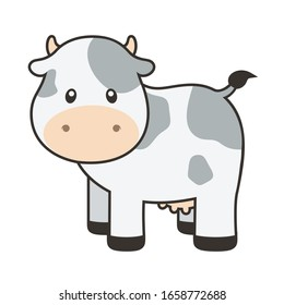 Cute Cow with Outline Vector Illustration on White