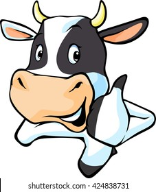 cute cow peeking and show thumb up - vector cartoon illustration
