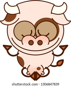 Cute cow with pointy ears, big horns, long tail, wide nose and a ring around the left eye smiling while showing a relaxed mood. It's seated performing a deep meditation