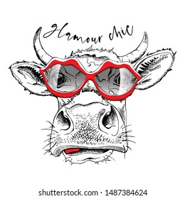 Cute cow in a red lips sunglasses. Glamour chic - lettering quote. Humor card, t-shirt composition, hand drawn style print. Vector illustration.