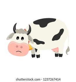 Cute cow is sad. Set of cute Cows character in various poses. Vector illustration for your design
