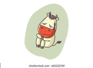 Cute Cow Sad. Vector illustration. Isolated on white background.