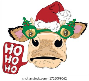 Cute cow in  santa hat and glasses in the form of  Christmas tree. Bull with symbol 2021 happy New Year. Ho ho ho - lettering. Humor card, t-shirt design composition, hand drawn style