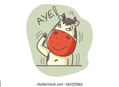 Cute Cow saying AYE. Vector illustration. Isolated on white background.