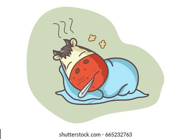 Cute Cow Sick. Vector illustration. Isolated on white background.