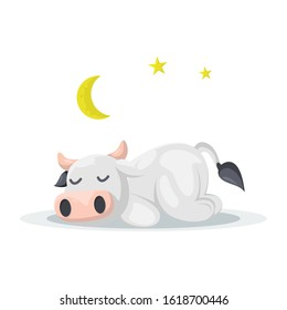 CUTE COW SLEEPING CARTOON VECTOR