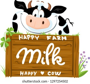 Cute Cow Smiling on Wooden Board Logo - Vector Illustration
