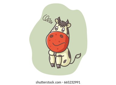 Cute Cow Smiling. Vector illustration. Isolated on white background.
