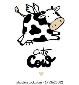 Cute cow, symbol new year 2021
