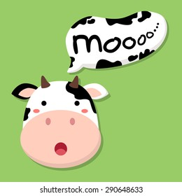 """Cute Cow Talking Moo. Editable vector illustration of a cute cow head saying """"moo"""" in green background."""