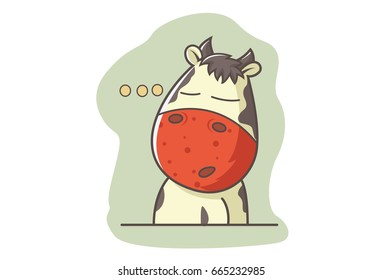 Cute Cow Thinking. Vector illustration. Isolated on white background.