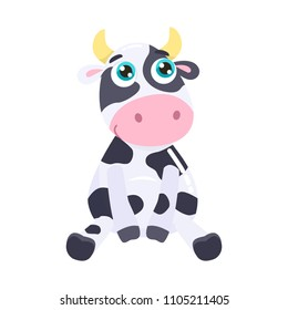 Cute cow vector illustration.