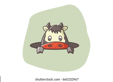 Cute Cow. Vector illustration. Isolated on white background.