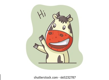 Cute Cow waving a HI. Vector illustration. Isolated on white background.