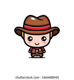 Cute cowboy character vector design