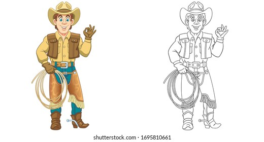 Cute cowboy, horse rider with lasso rope. Coloring page and colorful clipart character. Cartoon design for t shirt print, icon, logo, label, patch or sticker. Vector illustration.