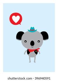 cute cowboy koala bear love vector illustration poster