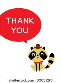 cute cowboy raccoon thank you card
