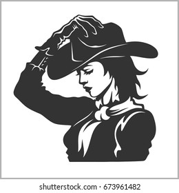 Cute Cowgirl  - Retro Clip Art vector illustration