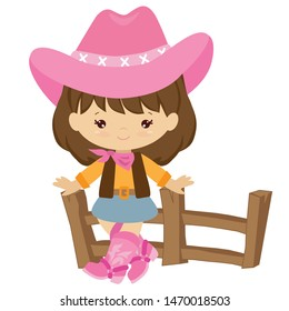 Cute cowgirl vector cartoon illustration