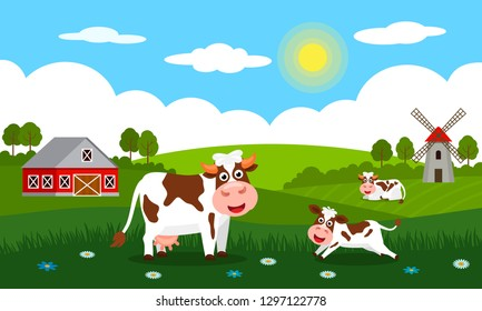 Cute cows and funny calves graze on green grass against a background of rural summer landscape, farm and mill. Flat vector illustration in cartoon style.