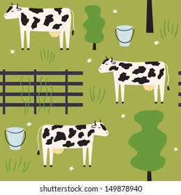 Cute cows give milk. Vector seamless pattern