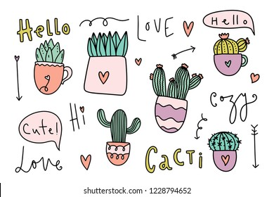 Cute cozy home theme cacti collection. Pretty little things. Hand drawn set of different cactus and succulents. Lettering phrases. Vector illustrations.