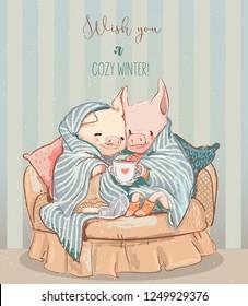 cute cozy winter pigs
