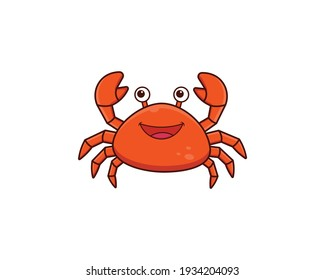 cute crab cartoon vector icon illustration, mascot logo, cartoon animal style