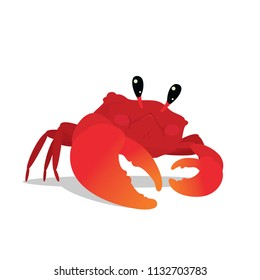 Cute Crab in a cool pose. Colorful vector illustration of underwater character Red Crab with orange claw in flat cartoon style isolated on white background. Element for your design.
