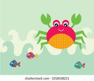 cute crab and fish greeting card vector