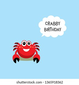 cute crab happy crabby birthday greeting card vector