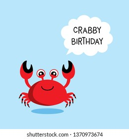 cute crab happy crabby birthday greeting vector